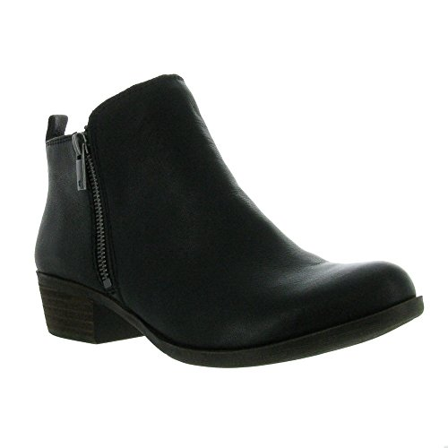 Lucky Brand  Women's Basel Boot, Black 03, 6.5 M (High Heel Nappa Ankle Boot)