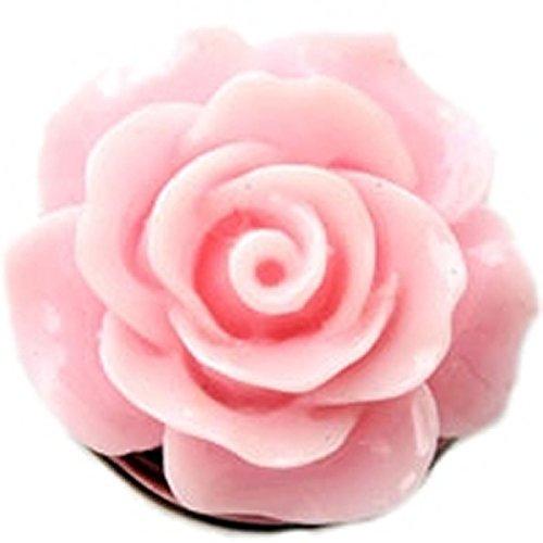 (Enamel Pink Rose Snap Charm GS914 (Standard 18mm Size))