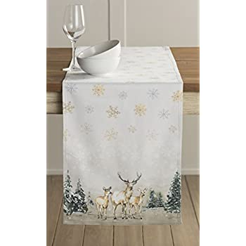 Maison Du0027 Hermine Deer In The Woods 100% Cotton Table Runner 14.5 Inch By