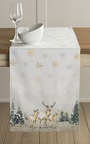 Maison d' Hermine Deer In The Woods 100% Cotton Table Runner 14.5 Inch by 72 Inch. by Maison d' Hermine