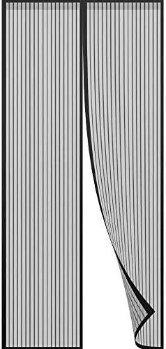 NEWMAKES 簡易あみ戸カーテン マグネット式網戸 玄関カーテン、ドア・ベランダ・ドア・リビング用・テラス・ドア用・穴あけ接着剤なしで取り付け簡単(ブラック) (Color : Black, Size : 95x205CM)