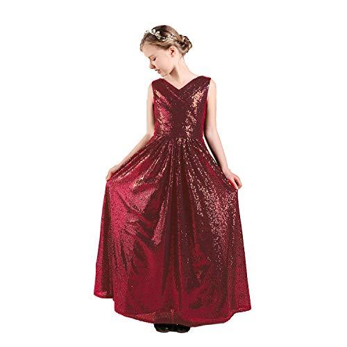 Long Junior Bridesmaid Dress Sequin Flower Girl Dress Burgundy Formal Wedding Party Pageant Maxi Dress Dance Ball Gown 14t ()
