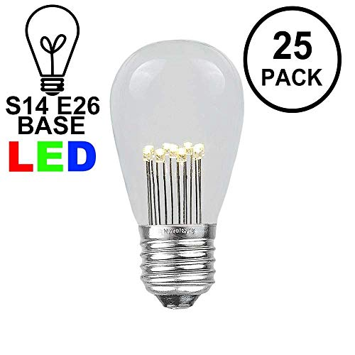 Novelty Lights 25 Pack LED S14 Outdoor Patio Edison Replacement Bulbs, Warm White, E26 Medium Base, 1 Watt