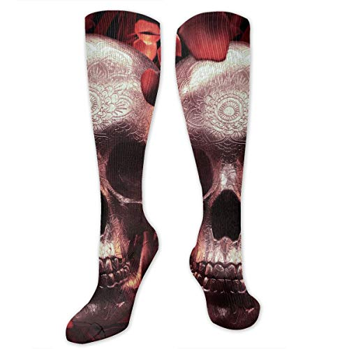 Compression Socks Rose Petal Skull Soccer Sports Knee High Tube Socks For Women And Men