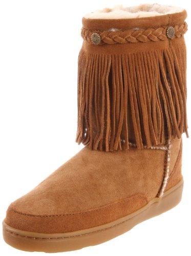 (Minnetonka Women's Sheepskin Fringe Low Pug Boot,Tan,10 M US)
