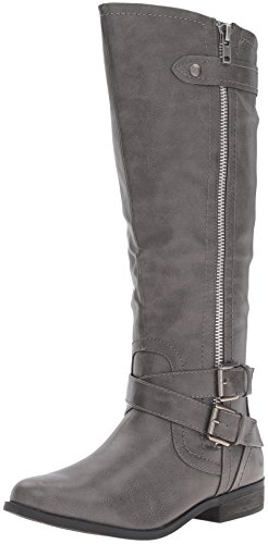 Rampage Women's Hansel Zipper and Buckle Knee-High Riding Boot,  Grey , 8 M US (Grey Womens Riding Boots)