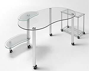 Mesa Ordenador Cristal Web con ruedas
