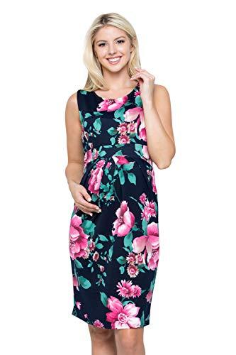 My Bump Women's Floral Front Pleated Sleeveless Knee Length Maternity Midi Dress(Made in USA)-for Baby Shower (Medium, Navy/Fuchsia SKAX)