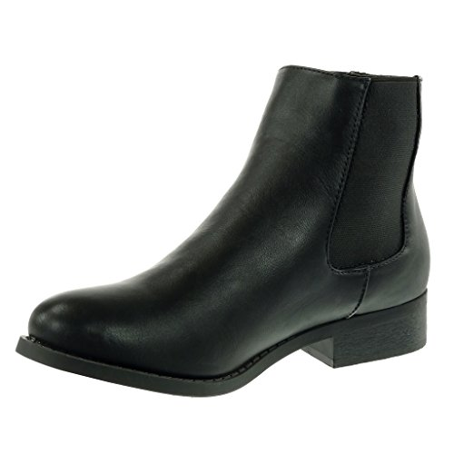boots Fashion Ankle elastic Block 3 studded biker Black CM chelsea Women's Heel boots Shoes Booty Angkorly cavalier txgqIP75