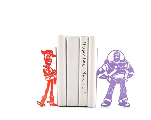 Children's Bookends Toy Story. Spaceman figure Buzz and cowboy doll Woody. Decor for kid's room. Holders for bookshelf. Gift for readers.