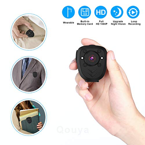 Body Camera Mini Spy Camera Hidden Camera Nanny Cam Portable Camera 1080P Wearable Camera Battery Powered Mini Sports Camera Worn Camera with Night Vision Loop Recording Cop Cam, Built-in 16G TF Card