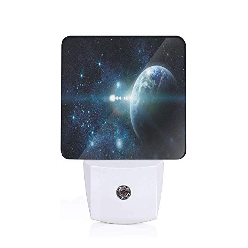 Colorful Plug in Night,Mysterious Outer Space Cosmos Universe Nebula Exploration Fantasy Theme Image,Auto Sensor LED Dusk to Dawn Night Light Plug in Indoor for Childs Adults
