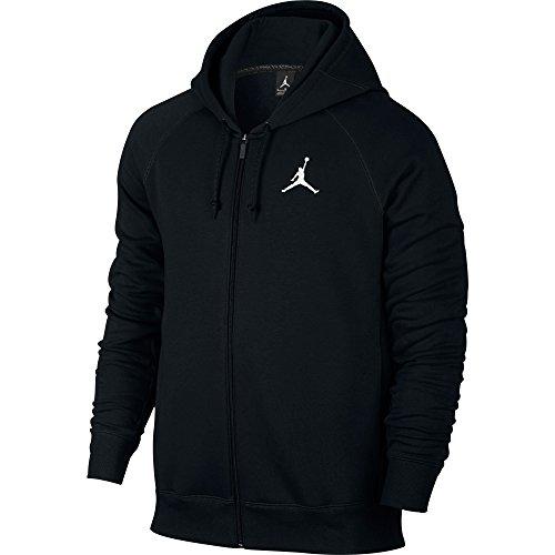 Nike Mens Jordan Flight Full Zip Hooded Sweatshirt Black/White 823064-010 Size Medium (Full Zip Terry Shirt)