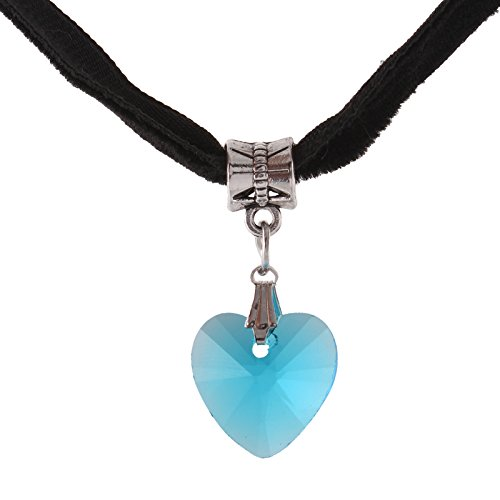 Fasherati Blue Crystal Heart with Velvet String Necklace for Girls