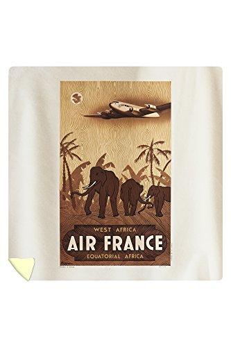 Air France - West Africa Vintage Poster (artist: Guerra) France c. 1946 (88x88 Queen Microfiber Duvet Cover) by Lantern Press