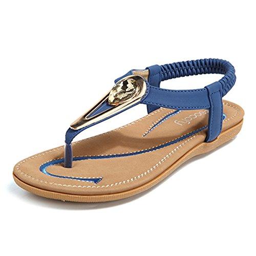 Socofy Damen Sandalen, Flip Flops Böhmische Sommer Sandals Flach Zehentrenner Stil T-Strap Offene Schuhe Strand Schuhe Blau-A 39