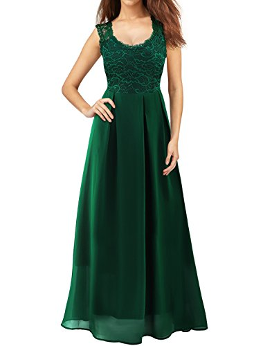 Mulysaa Women's Floral Lace Sleeveless Formal Prom Evening Party Gown Floor Length Bridesmaids Wedding Dress (3X, Green)