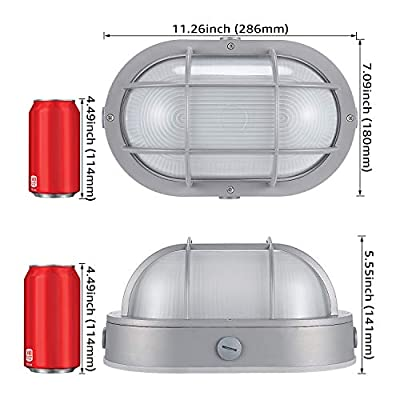 LEONLITE 20W LED Bulkhead Light, 120W Eqv. 12 Inch Marine Oval Outdoor Wall Lights, 1400lm Ship Lighting, 3000K Warm White, ETL & Energy Star Listed, Wet Location Available, 5 Years Warranty: Home Improvement