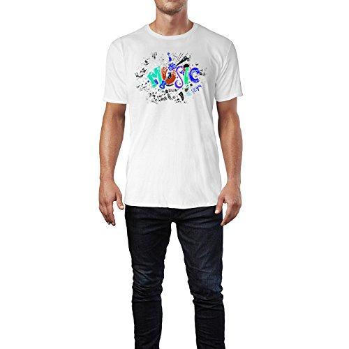 SINUS ART ® Wimmel Zeichnung Musik Herren T-Shirts in Weiss Fun Shirt mit tollen Aufdruck