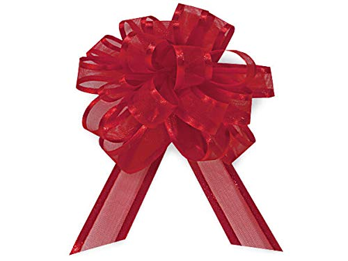 - Sheer Gift Pull Bows - Red Sheer w/Satin Edge 4