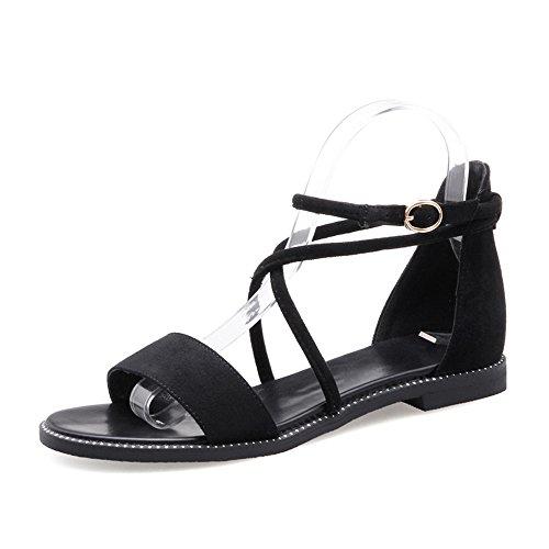 Sandalias Planas De Verano Femenino Sandalias De Amarre Negro