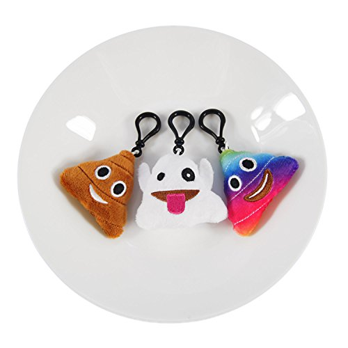 Ivenf Pack of 50 5cm/2'' Emoji Poop Plush Keychain Birthday Party Favors Supplies Mini Pillows Set, Emoticon Backpack Clips, Goodie Bag Stuffers Pinata Fillers Novelty Gifts Toys Prizes for Kids by Ivenf (Image #4)