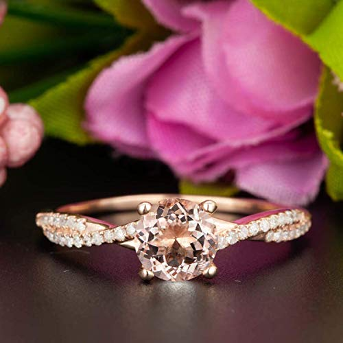 (1.50 Carat Round Cut Morganite and Diamond Engagement Ring In Rose Gold)
