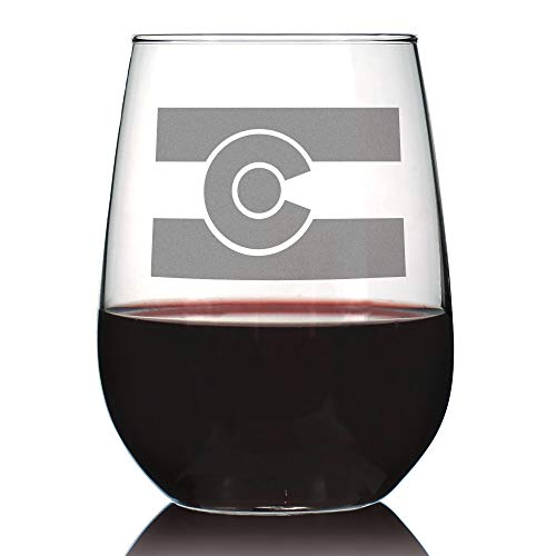 Colorado Flag - Cute Centennial State Stemless Wine Glass, Large 17 oz, Etched Sayings, Gift Box