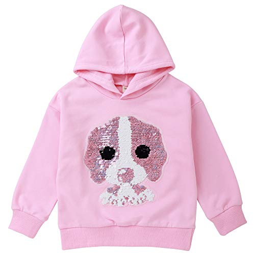 Girl Boy Hooded Sweatshirt Cotton Sequin Fashion Hoodies Pullover Top for Toddler Baby Little Kid Dog Pink 1100