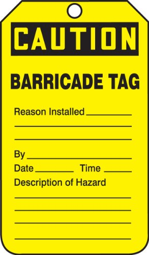 Accuform TAB105CTP Barricade Status Tag, Legend