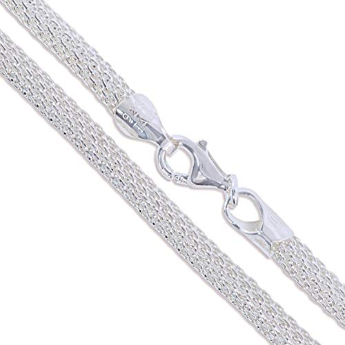 Sterling Silver Unique Italian Mesh Rope Chain 3mm Solid 925 Italy Necklace 20""