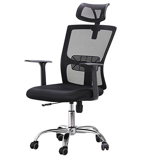 Yaheetech 360° Swivel Office Desk Chair with Armrest and Adjustable Headrest & Backrest,Tilt Tension Control, Weight Capacity 330lb (Tilt Tension Control)