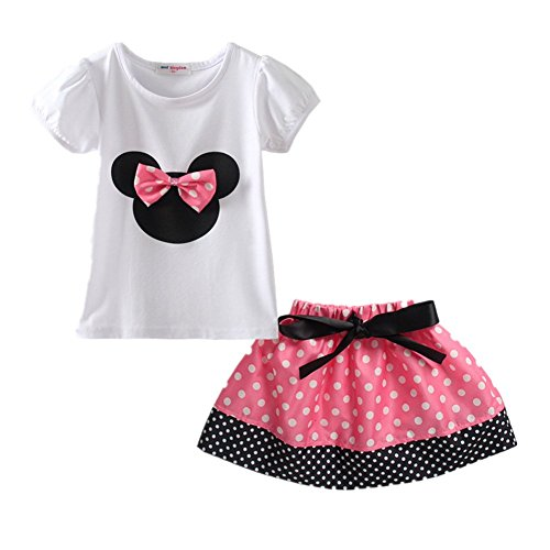 Dot Short Set (LittleSpring Little Girls' Skirt Shorts Set Bow Dot Size 12M(tag80) Pink-Skirt)