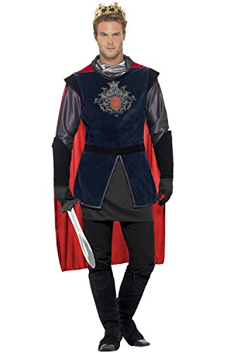 [Smiffy's Men's King Arthur Deluxe Costume, Top, Cape, Gloves, Boot covers and Crown, Tales of Old England, Serious Fun, Size XL,] (Toddler Renaissance Costumes)