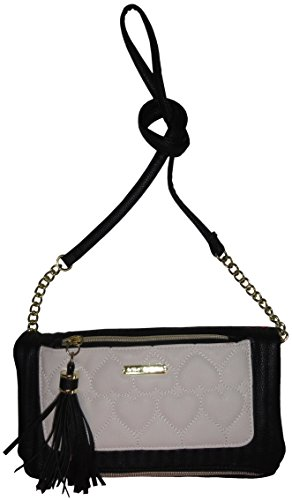 Boho-Chic Vacation & Fall Looks - Standard & Plus Size Styless - Betsey Johnson Be Mine Tassle Crossbody Bone/Black