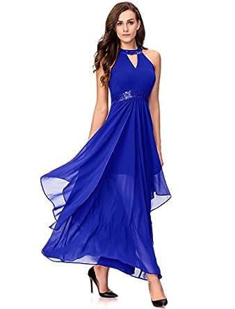 Noctflos Chiffon Elegant Maxi Cocktail Evening Dress for Women Party Wedding (Medium, Royal Blue)