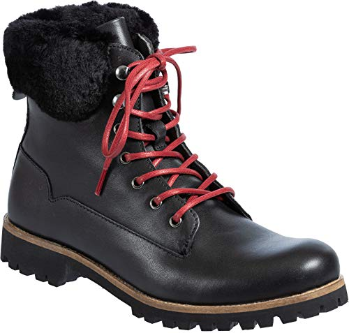 (Blackstone Women's QL67 Leather Boots with Shearling Trim Black)
