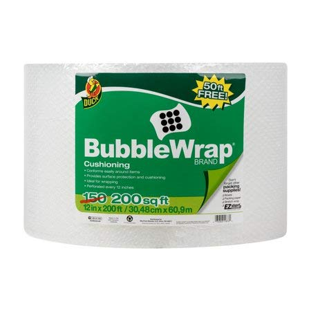 Duck Brand Original Bubble Wrap Cushioning 12 in. x 200 Ft, Clear