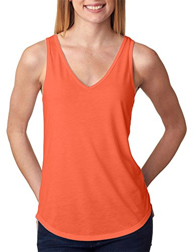 Bella + Canvas Ladies' Flowy V-Neck Tank, Coral, Large