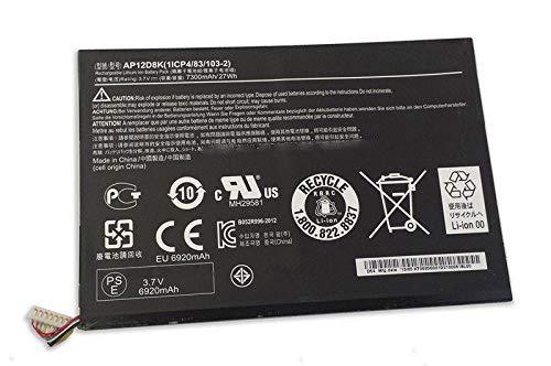 A3-A10 3.7V 7300mAh 27Wh AP12D8K Laptop-Akkus f/ür Acer Iconia Tab W510 W510P W510-1431 W510-1620 W510P-1867 P3-171 A3