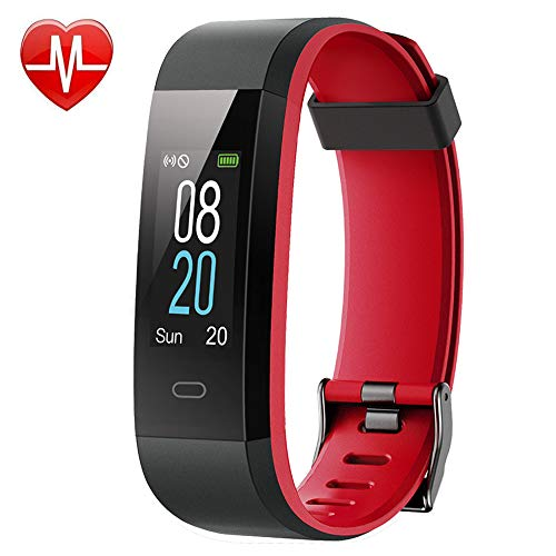 Willful Fitness Tracker with Heart Rate Monitor, Activity Tracker Pedometer with Step Counter Sleep Monitor 14 Sports Tracking,Color Screen IP68 Waterproof,Fitness Watch for Women Men Kids (Red) ()