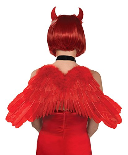 Cupid Wings Costume (Red Feather Wings Costume Accessory)