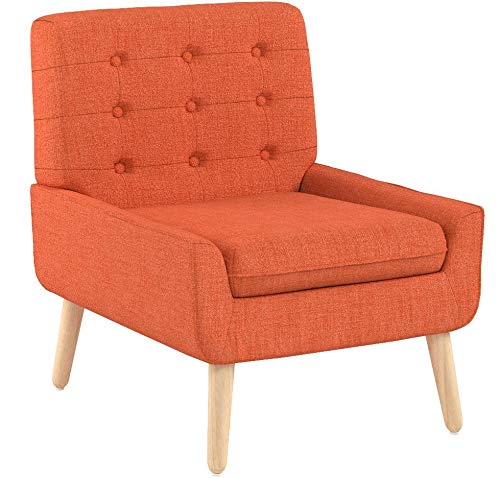 Christopher Knight Home 301751 Eonna Buttoned Mid Century Modern Muted Orange Fabric Chair,