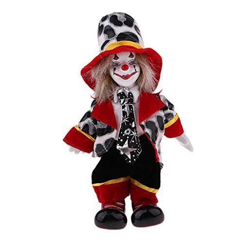 Prettyia Porcelain Clown Doll for Kids Birthday Gifts Halloween Christmas Decoration -