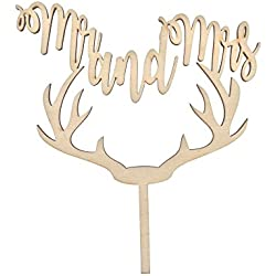 Deer Antler, Mr. and Mrs., Rustic Wedding Cake Topper