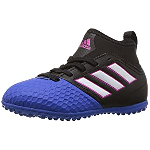 adidas Performance Kids Ace 17.3 J Turf Soccer Cleat, Black/White/Blue, 1.5 M US Little Kid