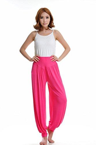 Leisial Pantalones de Yoga Algodón Suave Piernas Pantalones Anchos Sólido Color Elástico Pretina Pantalones Bombachos de Fitness Bailan Deportivo para Mujeres,Rosado XXL