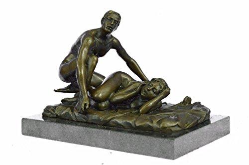 Handmade European Bronze Sculpture 2 Pcs Original Signed Patoue A Couple Having Sex -1253