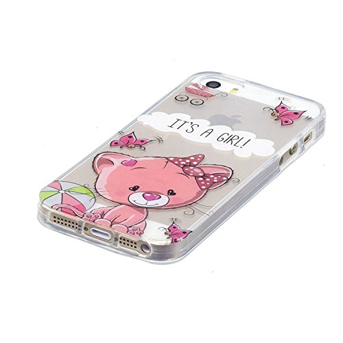 iPhone 5 5S Coque Chat rose Premium Gel TPU Souple Silicone Transparent Clair Bumper Protection Housse Arrière Étui Pour Apple iPhone 5 5S / SE + Deux cadeau