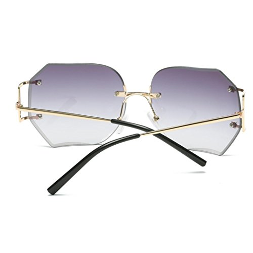 LHWY Femmes hommes voyage lunettes de soleil été Vintage Retro lunettes carré dégradé de couleur lunettes aviateur miroir lentille (Or, Gris)